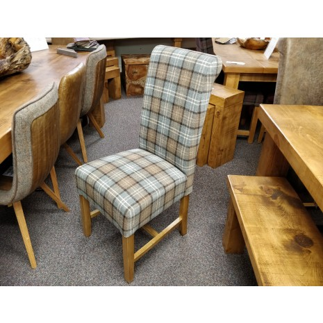 Rollback Dining Chair in Dove Grey Tartan