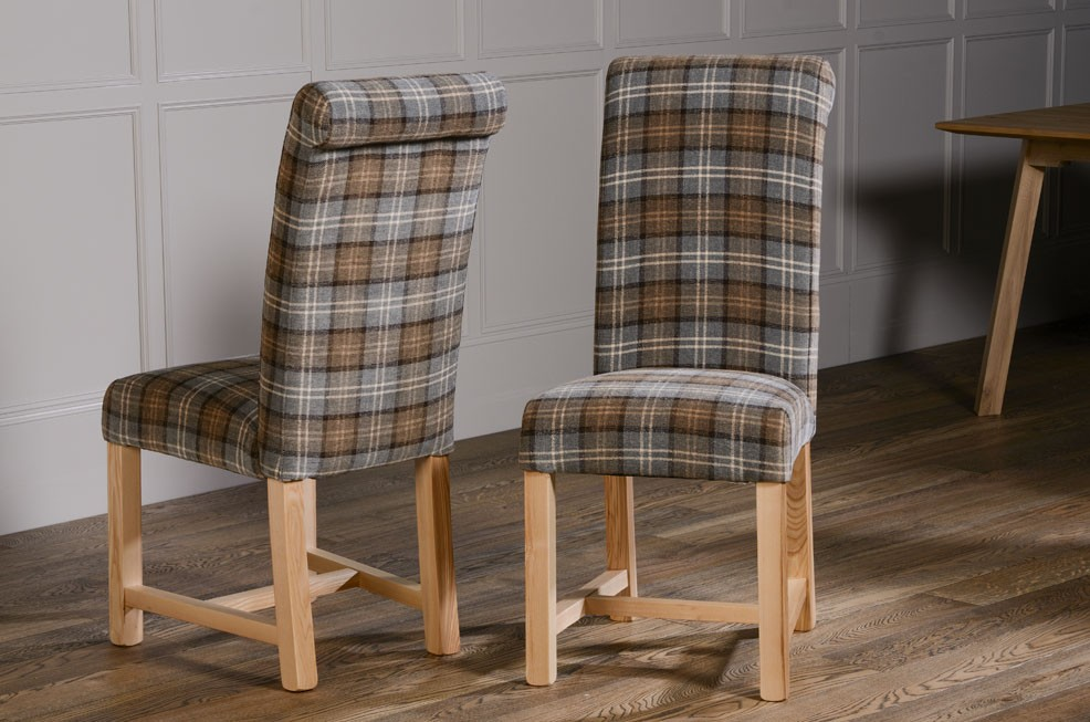 Rollback Dining Chair In Dove Grey Tartan Raw Furniture