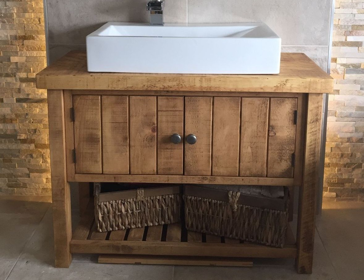 Rustic Bathroom Washstand  Rufford Vanity Unit  Raw Furniture UK