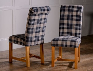 Rollback Dining Chair in Granite Tartan