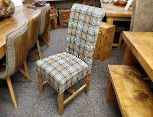 Rollback Dining Chair in Dove Grey Tartan