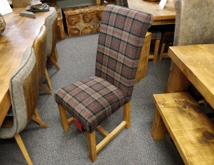 Rollback Dining Chair in Moss Tartan