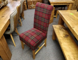 Rollback Dining Chair in Claret Tartan