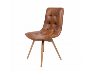 Retro Brown Real Leather Chair