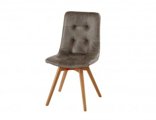 Retro Grey Real Leather Chair